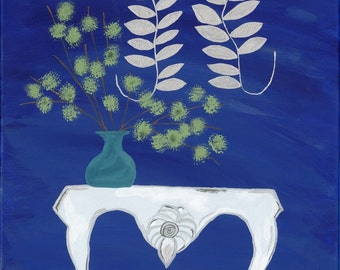 Blue Green Vase on White Table with Silver Leaves Ornament on Dark Blue Wall Giclee Print on Canvas 15 3/4 x 20