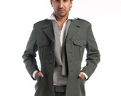 New 1980's Vintage Swiss Army Military Style Wool Jacket by TOP RANK VINTAGE (size m-xl)