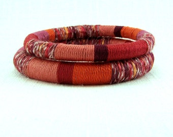 Pink Bangle Bracelets - Stacking Bangles- Fiber Bracelets - Salmon Pink Rose Berry Wine