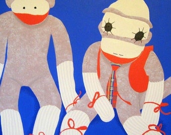 sock monkeys (no. 2) a 20 x 24 painting on stretched canvas