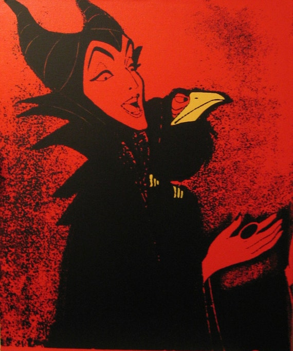maleficent from sleeping beauty, silkscreen/painting on stretched canvas, in red