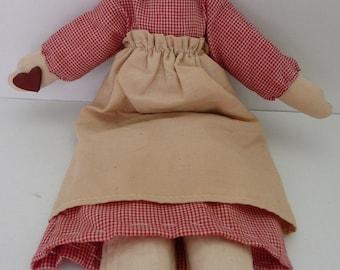 CLEARANCE - Primitive Handmade Raggedy Ann folk doll