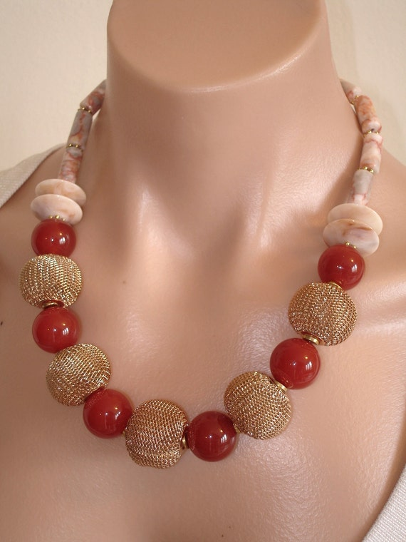 RESERVED FOR GW:  Ashira Fun Rich Carnelian with Big Gold Toned Mesh Beads Necklace
