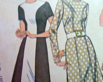 70s Shaped Seaming Dress Long Top Pants Pattern Colour Blocking Bust 36 McCalls 3112 Size 14