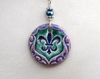 Fleur de Lis Ceramic Pendant Necklace Fleur de Lys in Emerald Green, Cobalt Blue. Purple & Turquoise Blue with Sterling Silver Chain