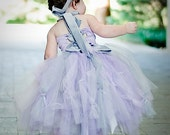Tulle Flower Girl Dress---Limited Quantities---Satin Halter Top with Tutu Skirt---Two Piece Outfit---Weddings-Pageants-Portraits
