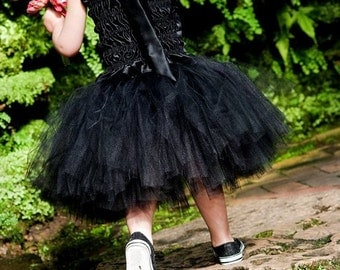 Black Flower Girl Dress--Tutu and Satin Halter Top----Perfect for Weddings, Pageants, Portraits