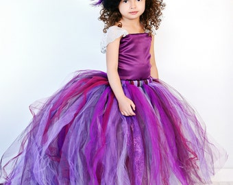 Purple Flower Girl Dress w Detachable Train--Tulle Skirt--Satin Top Two Piece