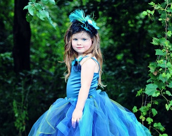 Peacock Flower Girl Tutu Dress----Satin Corset Top w Handmade Flowers----Weddings-Pageants-Portraits