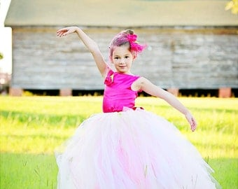 Tulle Flower Girl Dress w Tutu and Train--Satin--Ballet Neckline--Perfect for Weddings, Pageants and Portraits