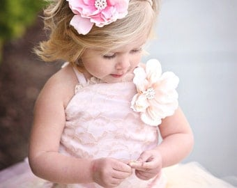 Pearl and Rose Headband---Flower Girl, Pageants, Portraits---Perfect for WEDDINGS