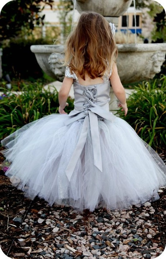 Reserved for Boldizar--Platinum Flower Girl Tutu Dress--Skirt and Top Set--Full of Glitter--Perfect for Weddings, Portraits and Pageants