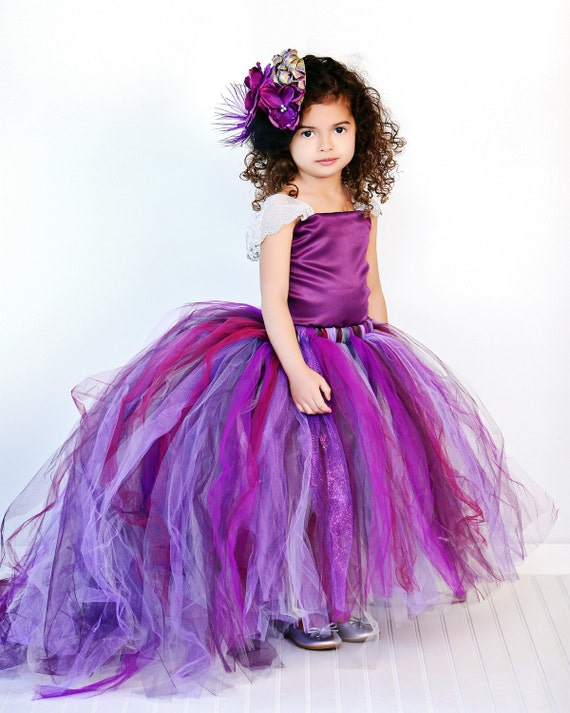 Purple Flower Girl Dress w Detachable Train--Tulle Skirt--Satin Top Two Piece