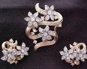 1950s Trifari Brooch/Pin and Earrings Set goldtone & silver Rhinestones