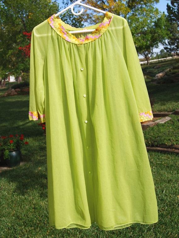 Vintage Peignoir Robe, by Gotfried, Lime / Chartruese Green & Pink, Mod, Retro