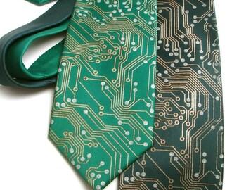Circuit Board Nerd Necktie - Metallic Copper and Silver Ink on Green or Black Tie