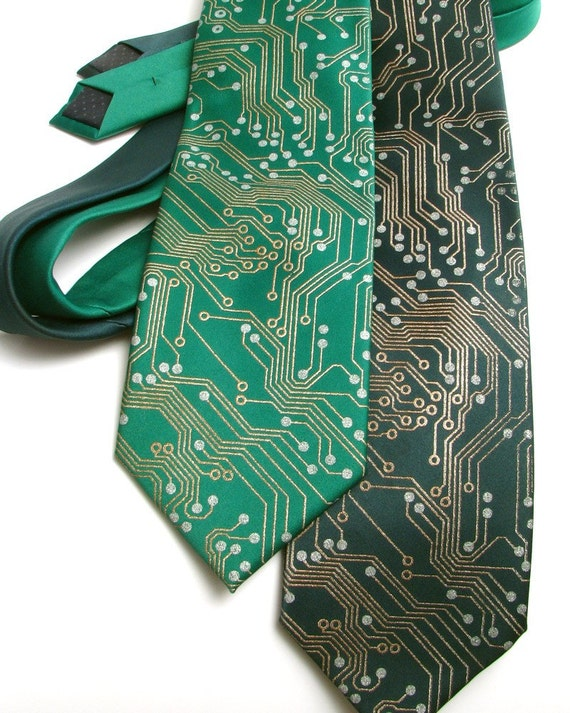 Circuit Board Nerd Necktie - Metallic Copper and Silver Ink on Green or Black Tie