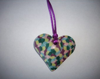 Heart Necklace Mosaic Heart Necklace Valentine's Day Heart Necklace Multi-Colored Heart Polymer Clay Heart