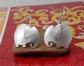 Cute elephant earrings in sterling silver