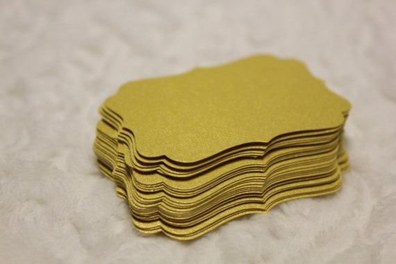 Yellow Gold Shimmer Die Cut Tag Set of 20