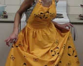 Traditional Ladies Apron with Hand Printed Butterfly in Yellow