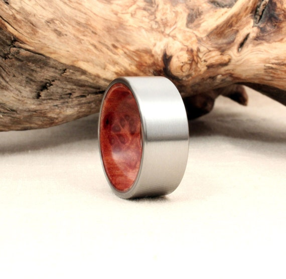 Titanium Lined with Redwood Burl Wood Ring Titanium Ring