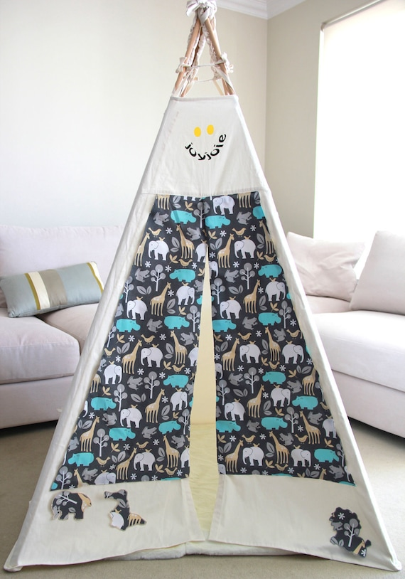 Reserved for Penelope - Indoor Jungle Wall Art Children' s Teepee OOAK