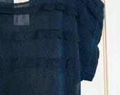 XS-S-M vintage sheer maxi navy blue dress 1970s