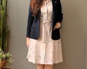 vintage navy blue knit wool blazer plus gold cherub pin 1980s M L XL
