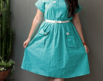 L XL vintage 1970s aqua blue cotton button sun dress