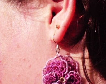 Tatted lace purple pansy earrings Pansies for Thoughts, dark purple