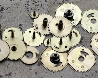 Vintage selection of assorted clock gears -- brass -- set of 17