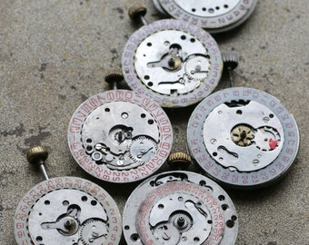 Vintage wrist watch movements -- date rings -- set of 6