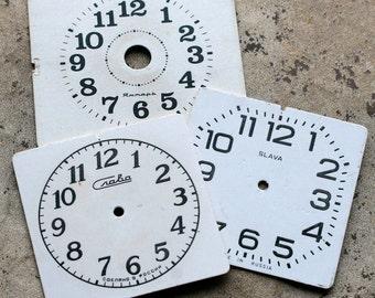 Vintage Alarm Clock Faces -- cardboard -- set of 3