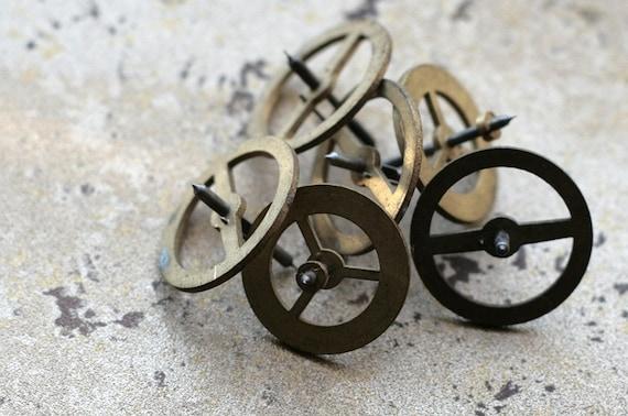 Vintage clock brass gears -- set of 6