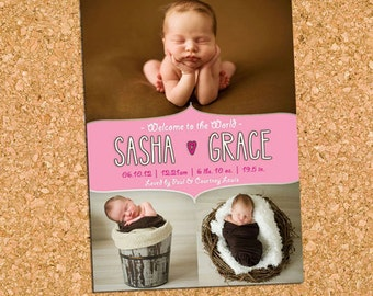 Pink Baby Girl Photo Announcement, Photo Collage Girls Birth Announcement, Simple Sweet Baby Card - DiY Printable || Sweet Pea Scribbles