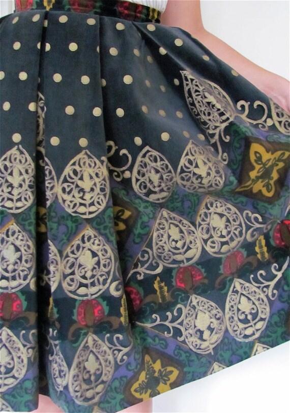 The Lois Casper Velvet Painted Pleated Skirt