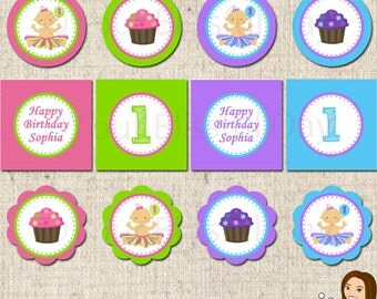 PRINTABLE 1st Birthday Girl Party Circles (Personalized)