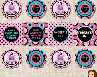 PRINTABLE Sweet 16 Birthday Party Circles #592