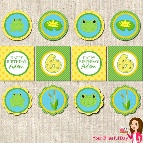 PRINTABLE Boy Frog Party Circles (Personalized) #530