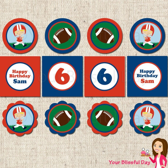 PRINTABLE Personalized Football Party Circles (Character of your choice) #529