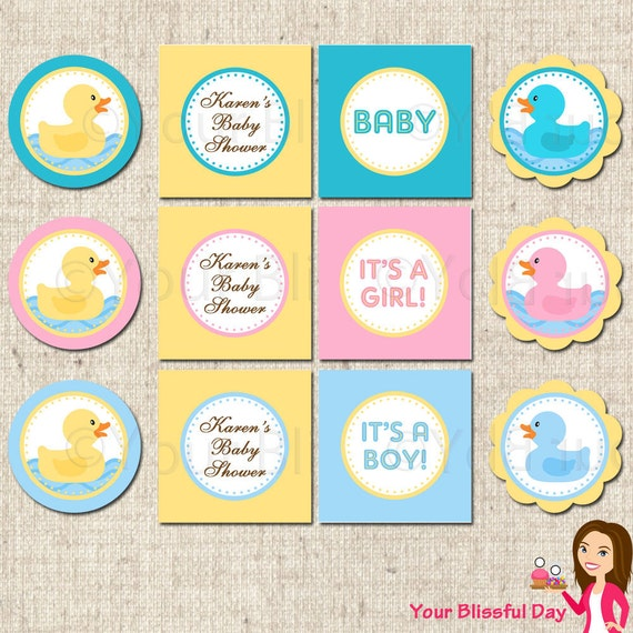 PRINTABLE Rubber Duckie Baby Shower Party Circles (Personalized) #209