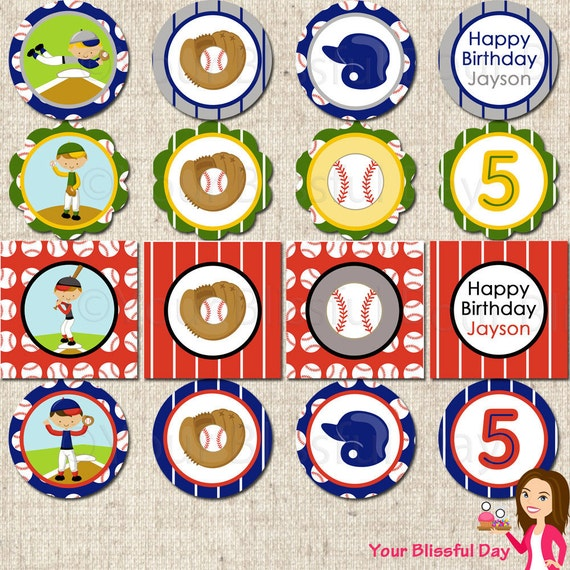 PRINTABLE Boy Baseball Party Circles (Personalized) #510