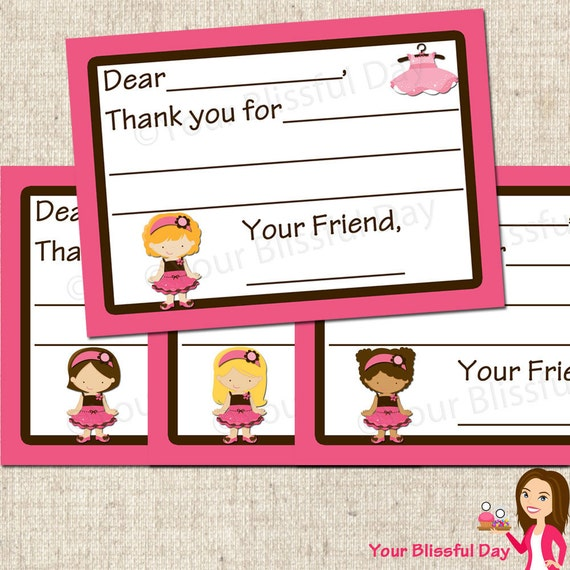 PRINTABLE Dress Up Girl Fill-in-the-Blank Thank You Cards (Character of your choice) #525