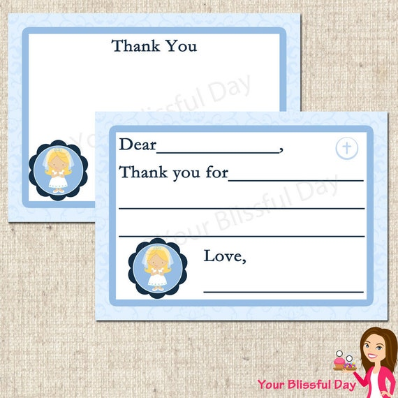 PRINTABLE First Communion Girl Fill-in-the-Blank or Stationery Thank You Cards (Character of your choice) #602
