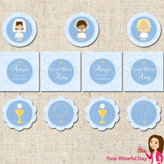 PRINTABLE Personalized First Communion Girl Party Circles (Character of your choice) #602