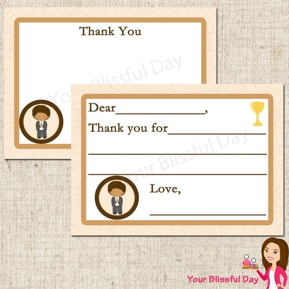 PRINTABLE First Communion Boy Fill-in-the-Blank or Stationery Thank You Cards (Character of your choice) #602