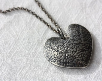 PENDANT Silver Heart Necklace - Heart String - Love Necklace - Reversible Pendant - Made to Order