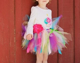Rainbow CUPCAKE Birthday Outfit Set With TUTU And 3D CUPCAKE Shirt --- All Sizes 6 9 12 18 24 Months 2T 3T 4T-----Birthday, Photo, Holidays