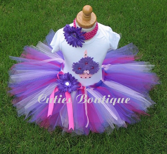 Pink Purple CUPCAKE Birthday TUTU Set With 3D CUPCAKE Shirt --All Sizes 6 9 12 18 24 Months 2T 3T 4T --Birthday, Photo, Holidays, Dress Up